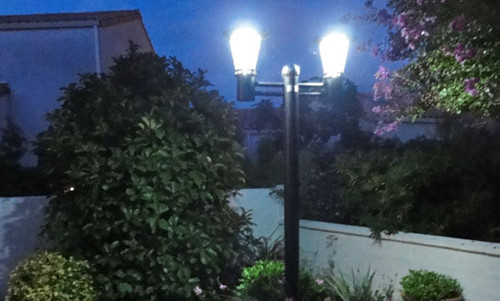 Eco friendly solar lights at night.